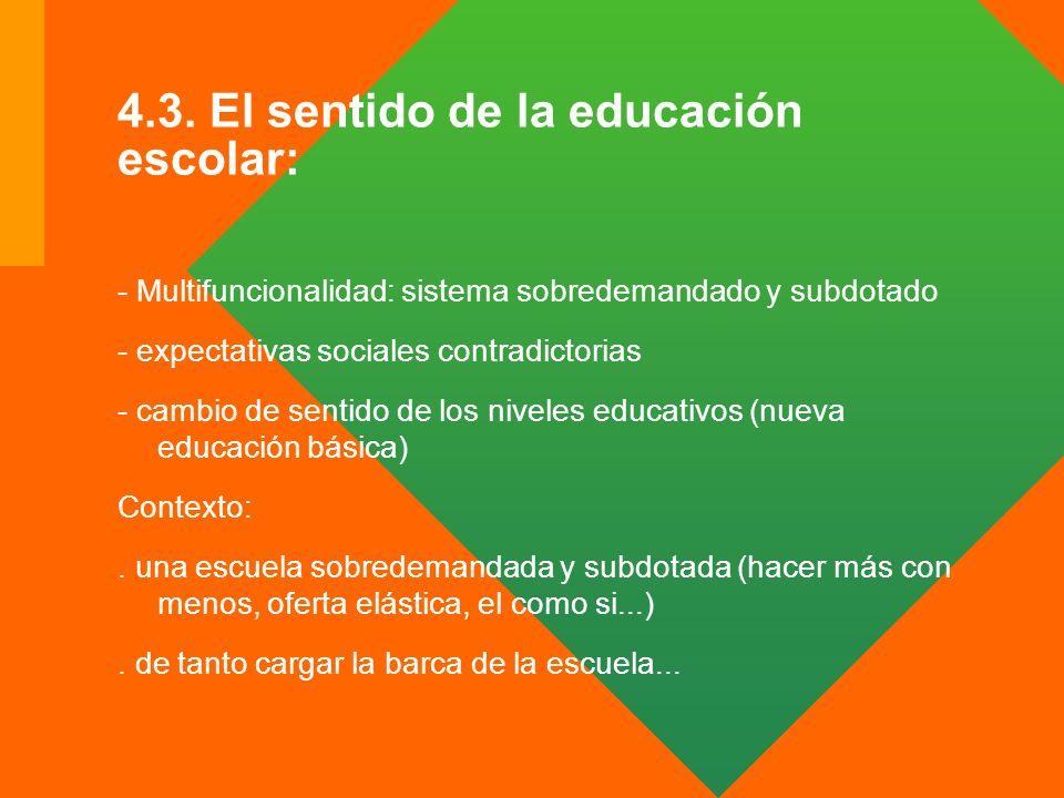 4.3. El sentido de la educación escolar: - Multifuncionalidad: sistema sobredemandado y subdotado - expectativas sociales contradictorias - cambio de