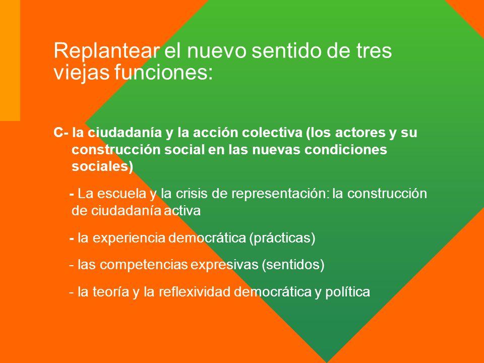 Replantear el nuevo sentido de tres viejas funciones: C- la ciudadanía y la acción colectiva (los actores y su construcción social en las nuevas condi