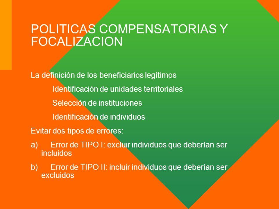 POLITICAS COMPENSATORIAS Y FOCALIZACION La definición de los beneficiarios legítimos Identificación de unidades territoriales Selección de institucion