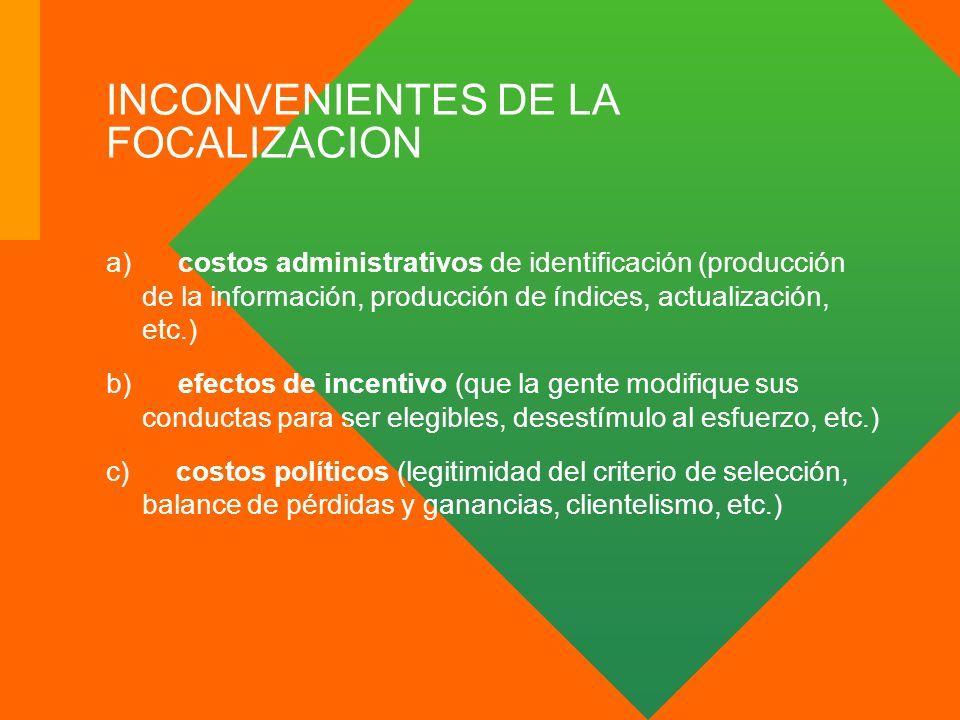 INCONVENIENTES DE LA FOCALIZACION a) costos administrativos de identificación (producción de la información, producción de índices, actualización, etc