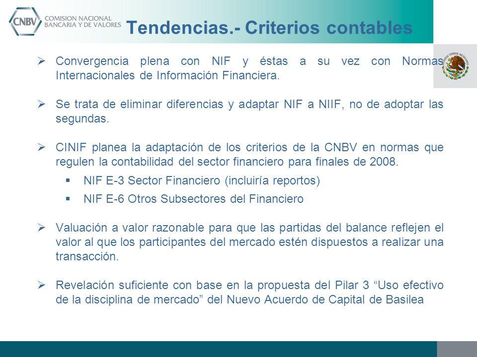 Tendencias.- Criterios contables Convergencia plena con NIF y éstas a su vez con Normas Internacionales de Información Financiera. Se trata de elimina