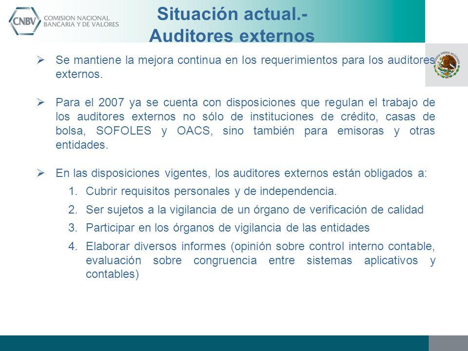 Situación actual.- Auditores externos Se mantiene la mejora continua en los requerimientos para los auditores externos. Para el 2007 ya se cuenta con