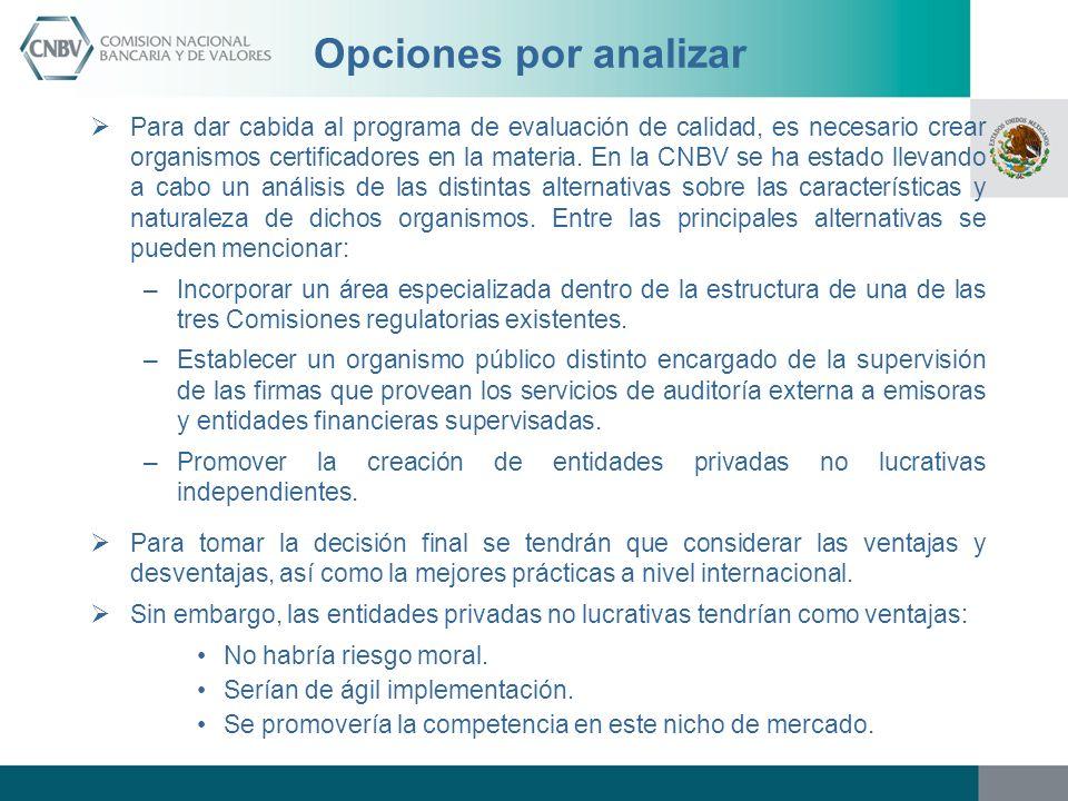 Opciones por analizar Para dar cabida al programa de evaluación de calidad, es necesario crear organismos certificadores en la materia. En la CNBV se