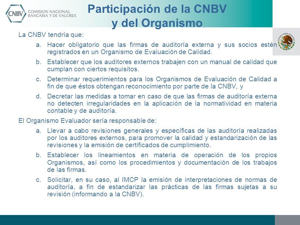 Participación de la CNBV y del Organismo La CNBV tendría que: a.Hacer obligatorio que las firmas de auditoría externa y sus socios estén registrados e
