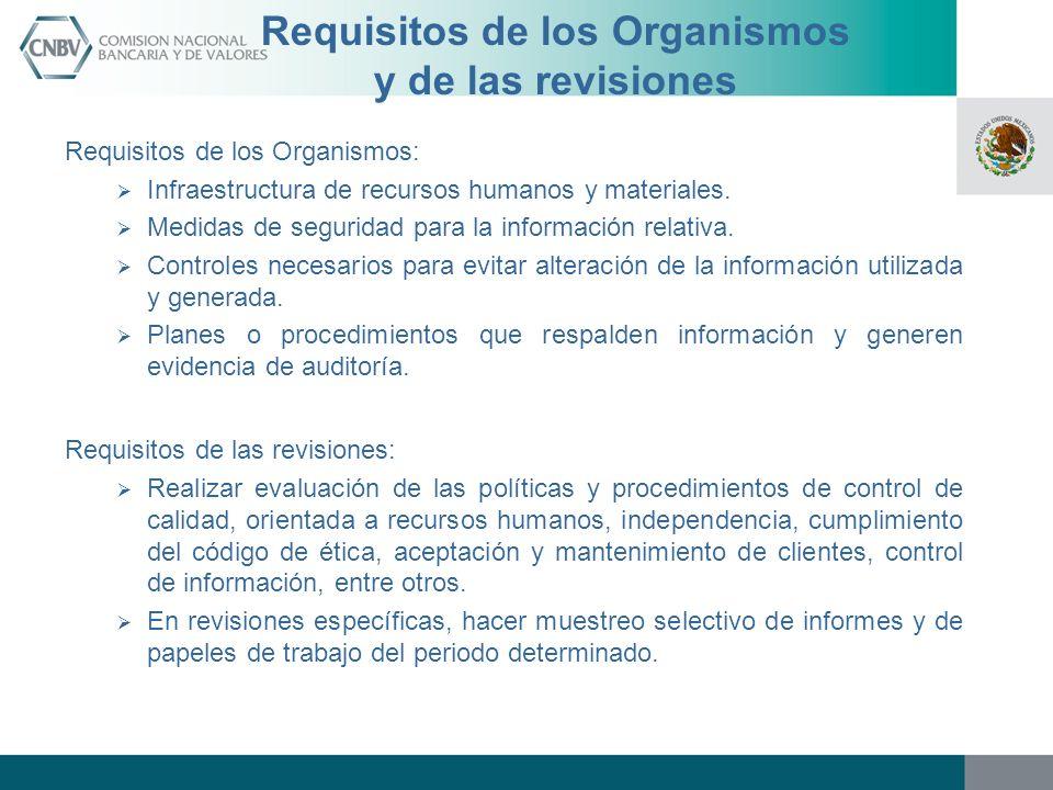 Requisitos de los Organismos y de las revisiones Requisitos de los Organismos: Infraestructura de recursos humanos y materiales. Medidas de seguridad