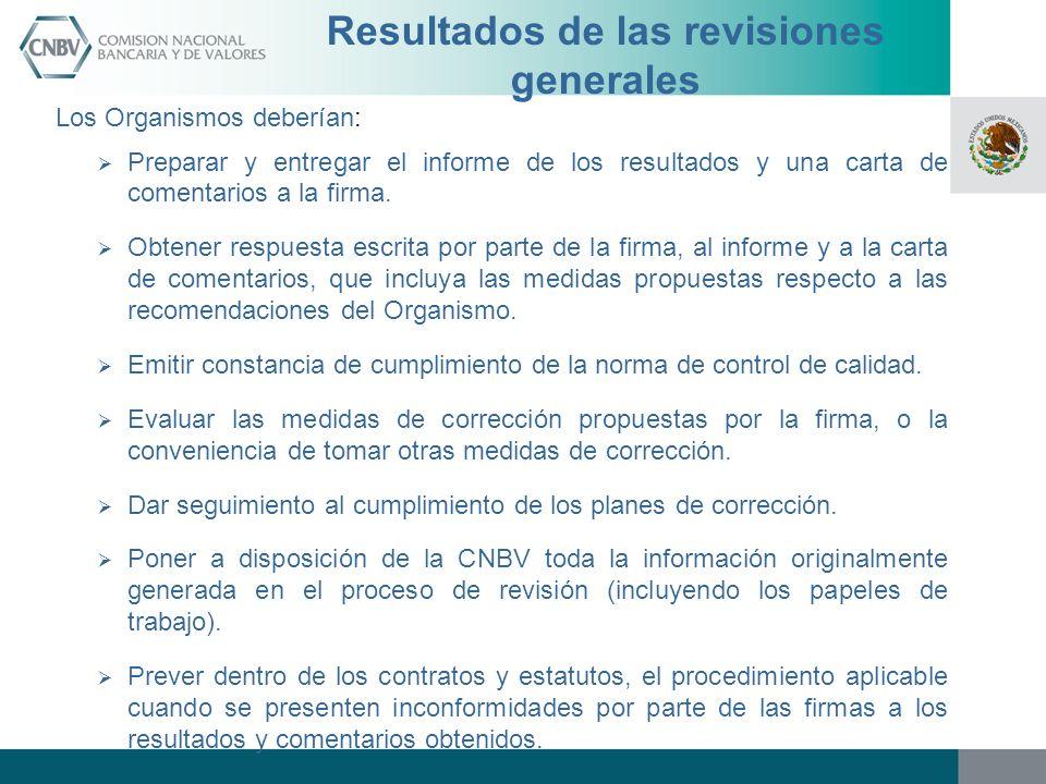Resultados de las revisiones generales Los Organismos deberían: Preparar y entregar el informe de los resultados y una carta de comentarios a la firma