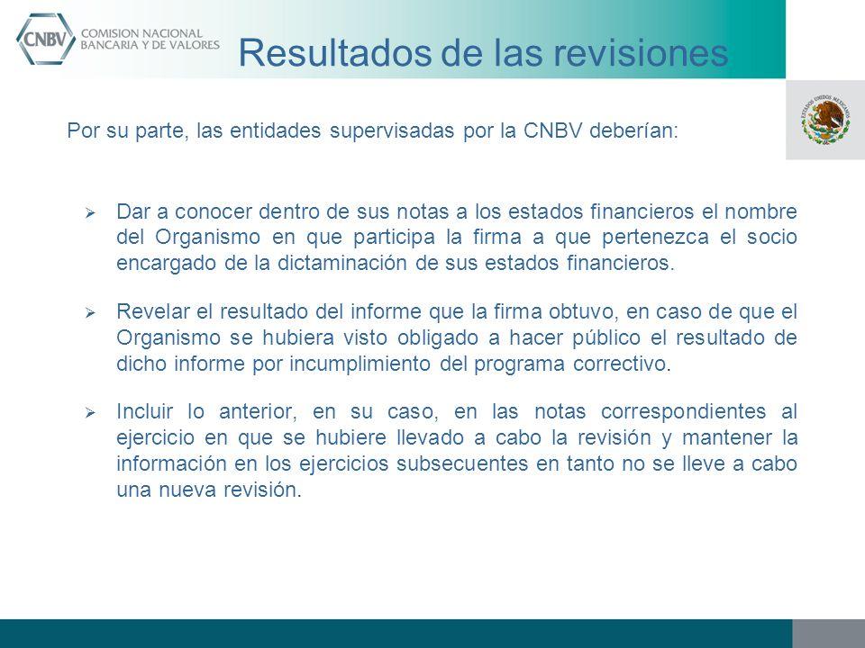 Resultados de las revisiones Por su parte, las entidades supervisadas por la CNBV deberían: Dar a conocer dentro de sus notas a los estados financiero