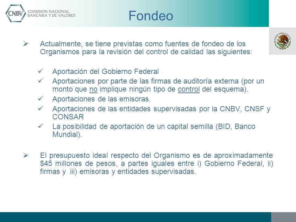 Fondeo Actualmente, se tiene previstas como fuentes de fondeo de los Organismos para la revisión del control de calidad las siguientes: Aportación del