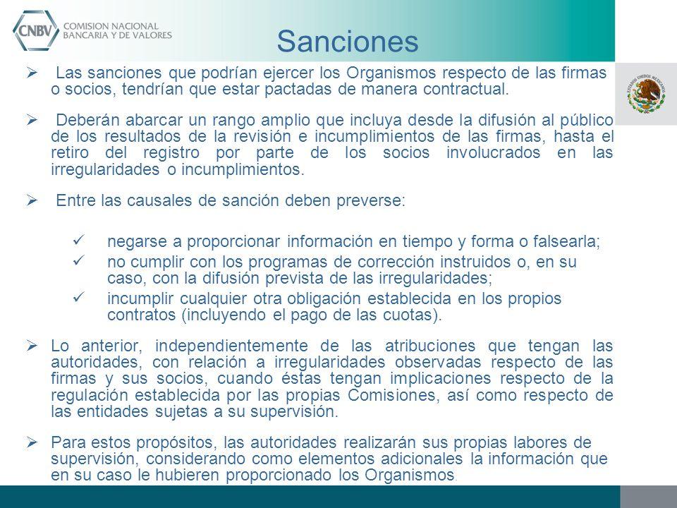 Sanciones Las sanciones que podrían ejercer los Organismos respecto de las firmas o socios, tendrían que estar pactadas de manera contractual. Deberán