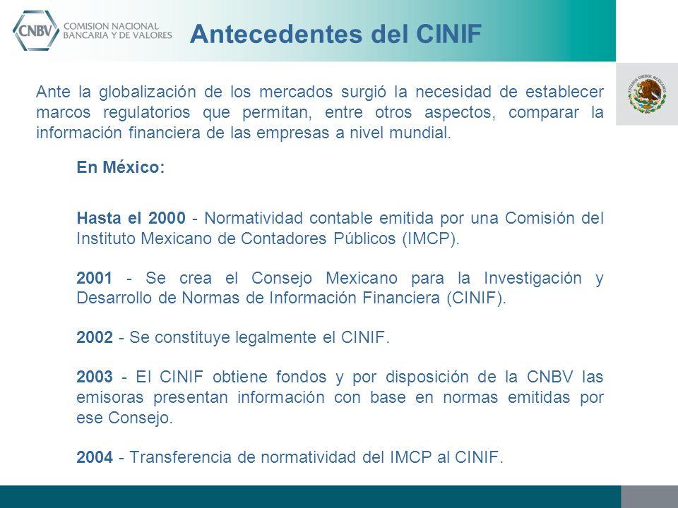 Antecedentes del CINIF Ante la globalización de los mercados surgió la necesidad de establecer marcos regulatorios que permitan, entre otros aspectos,
