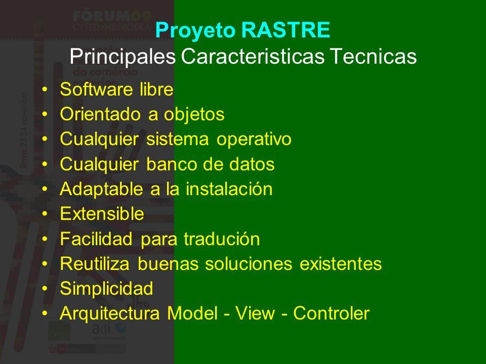 Proyeto RASTRE Principales Caracteristicas Tecnicas Software libre Orientado a objetos Cualquier sistema operativo Cualquier banco de datos Adaptable a la instalación Extensible Facilidad para tradución Reutiliza buenas soluciones existentes Simplicidad Arquitectura Model - View - Controler