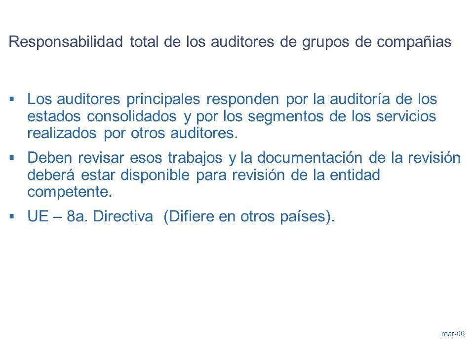 mar-06 Responsabilidad total de los auditores de grupos de compañias Los auditores principales responden por la auditoría de los estados consolidados