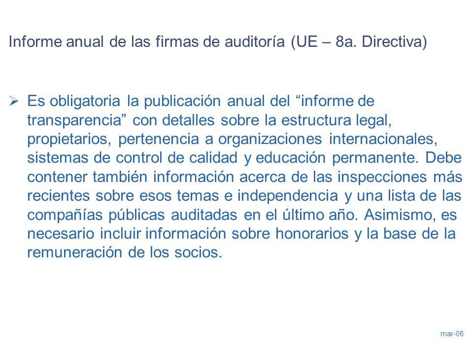 mar-06 Informe anual de las firmas de auditoría (UE – 8a. Directiva) Es obligatoria la publicación anual del informe de transparencia con detalles sob