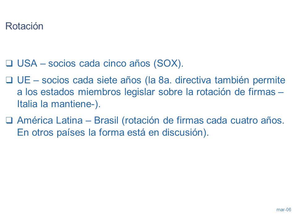 mar-06 Rotación USA – socios cada cinco años (SOX). UE – socios cada siete años (la 8a. directiva también permite a los estados miembros legislar sobr