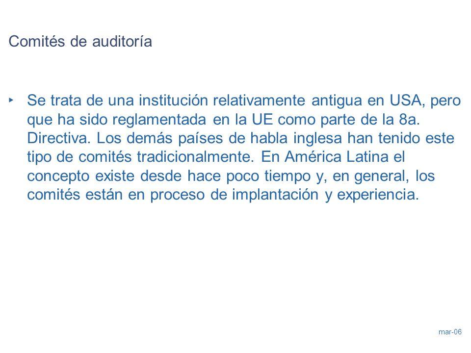 mar-06 Comités de auditoría Se trata de una institución relativamente antigua en USA, pero que ha sido reglamentada en la UE como parte de la 8a. Dire