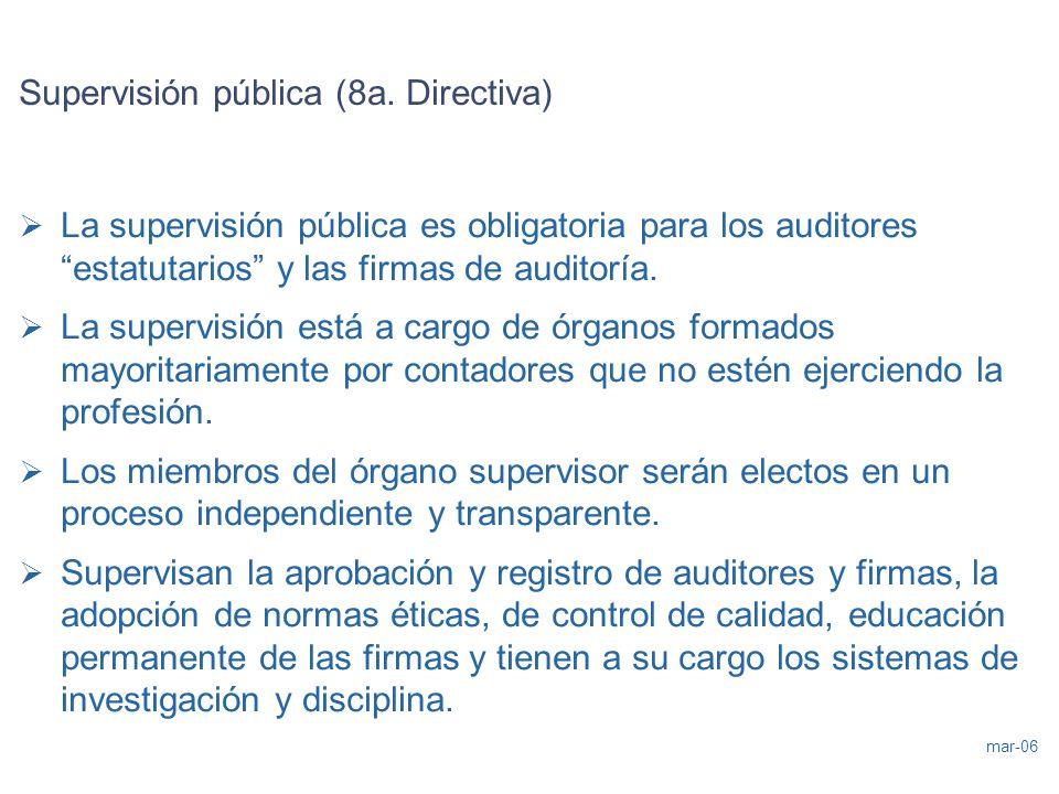 mar-06 Supervisión pública (8a. Directiva) La supervisión pública es obligatoria para los auditores estatutarios y las firmas de auditoría. La supervi