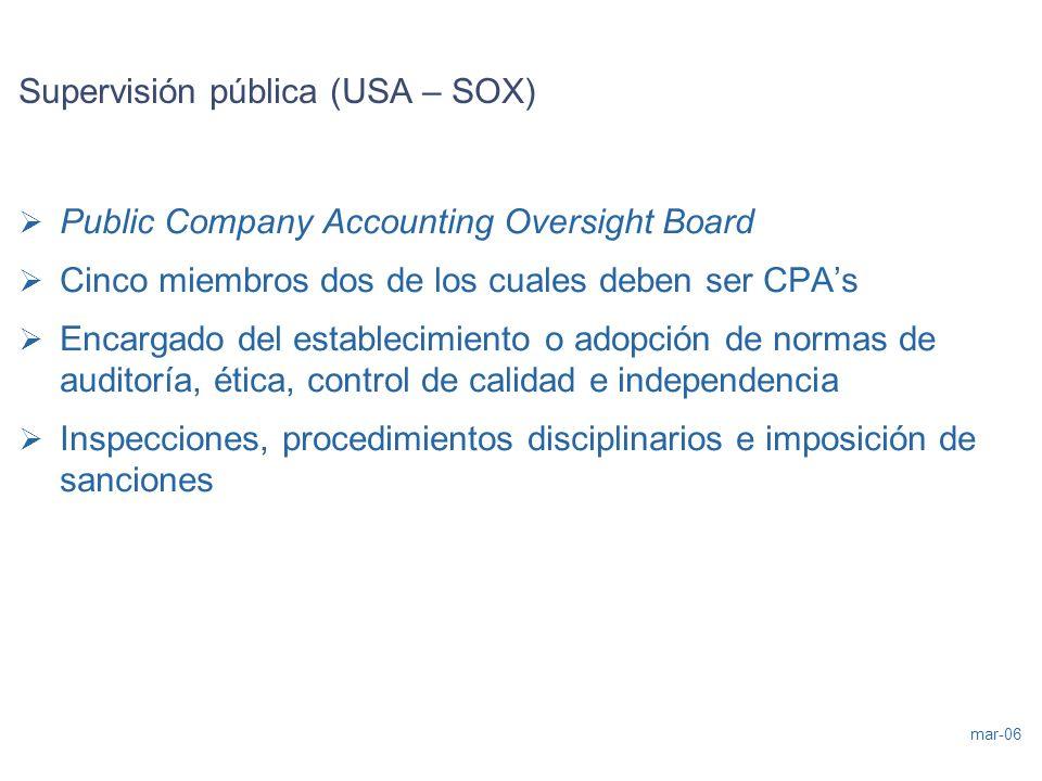 mar-06 Supervisión pública (USA – SOX) Public Company Accounting Oversight Board Cinco miembros dos de los cuales deben ser CPAs Encargado del estable