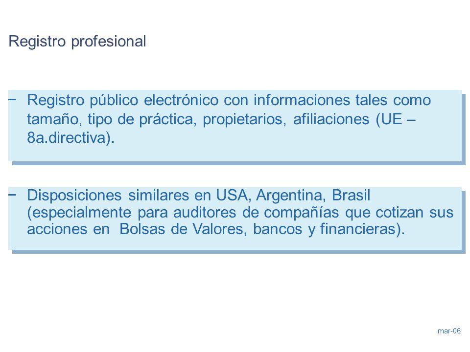 mar-06 Registro profesional – Registro público electrónico con informaciones tales como tamaño, tipo de práctica, propietarios, afiliaciones (UE – 8a.