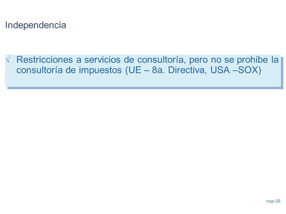 mar-06 Independencia Restricciones a servicios de consultoría, pero no se prohibe la consultoría de impuestos (UE – 8a. Directiva, USA –SOX) Restricci