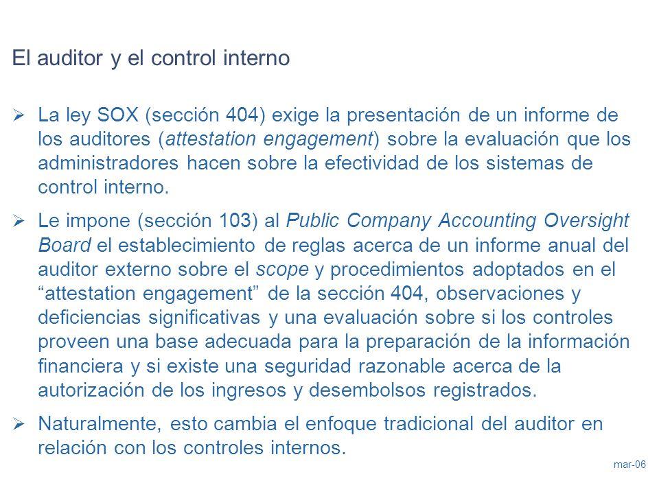 mar-06 El auditor y el control interno La ley SOX (sección 404) exige la presentación de un informe de los auditores (attestation engagement) sobre la