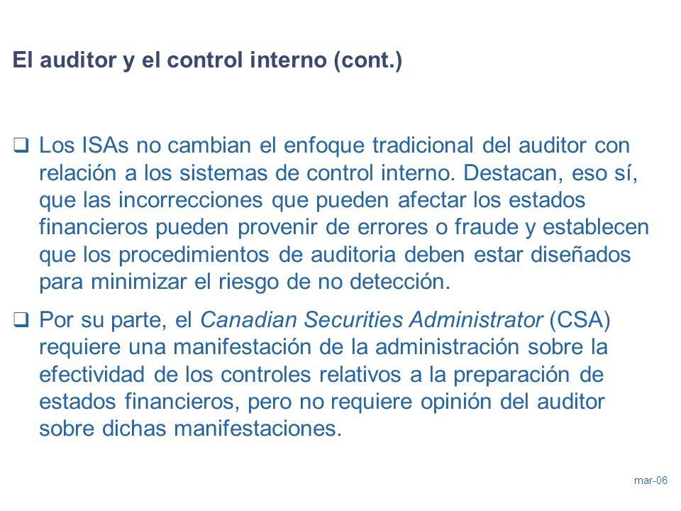 mar-06 El auditor y el control interno (cont.) Los ISAs no cambian el enfoque tradicional del auditor con relación a los sistemas de control interno.