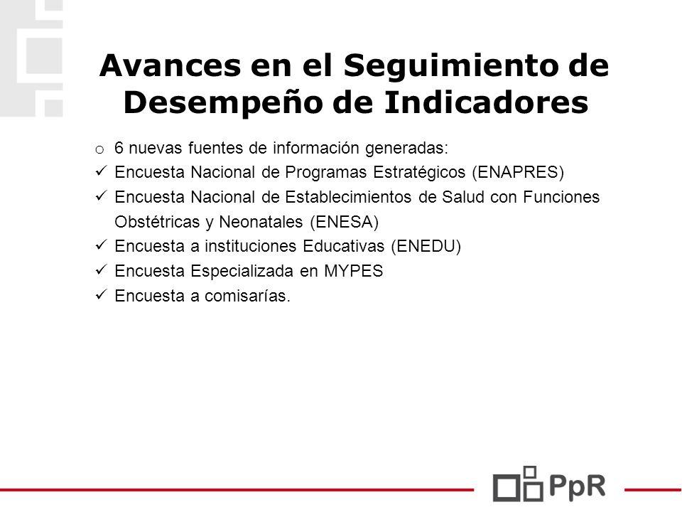 17 Avances en el Seguimiento de Desempeño de Indicadores o 6 nuevas fuentes de información generadas: Encuesta Nacional de Programas Estratégicos (ENA