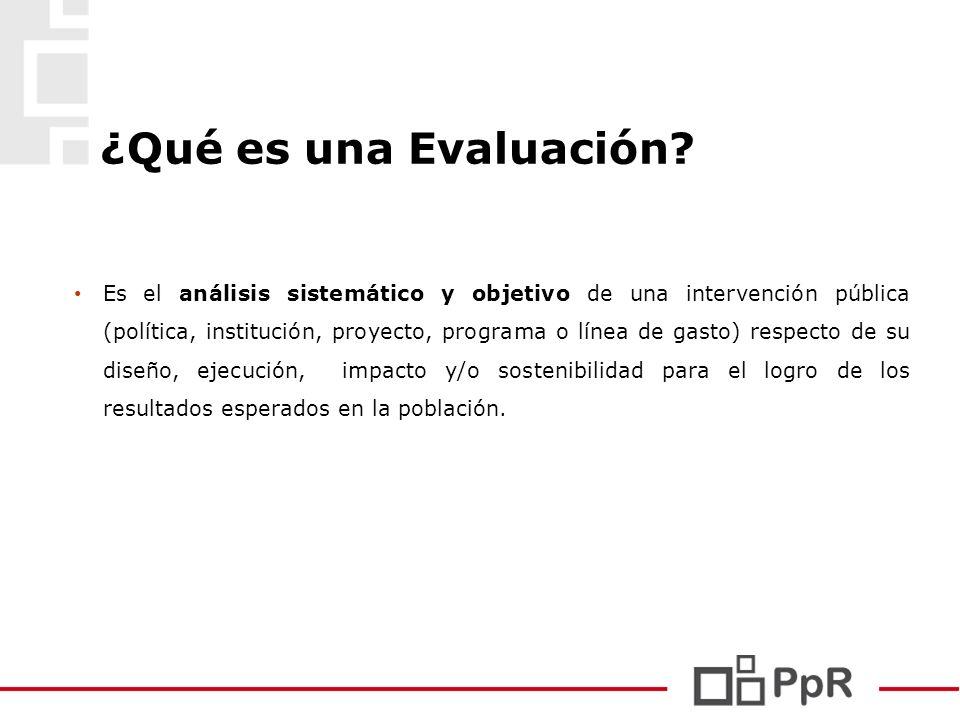 ¿Qué es una Evaluación? Es el análisis sistemático y objetivo de una intervención pública (política, institución, proyecto, programa o línea de gasto)