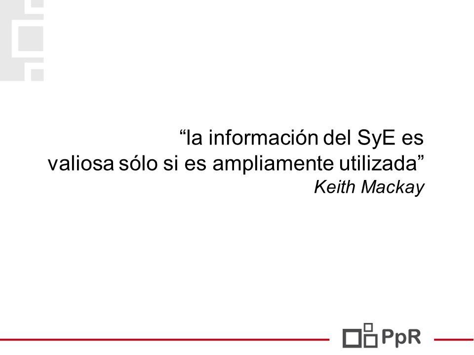 la información del SyE es valiosa sólo si es ampliamente utilizada Keith Mackay 25