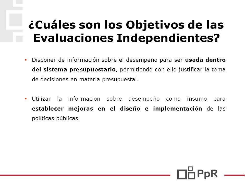 ¿Cuáles son los Objetivos de las Evaluaciones Independientes? Disponer de información sobre el desempeño para ser usada dentro del sistema presupuesta