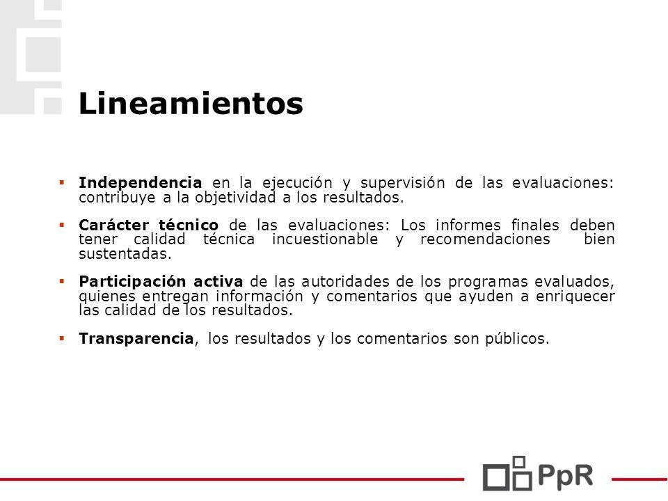 Lineamientos Independencia en la ejecución y supervisión de las evaluaciones: contribuye a la objetividad a los resultados. Carácter técnico de las ev