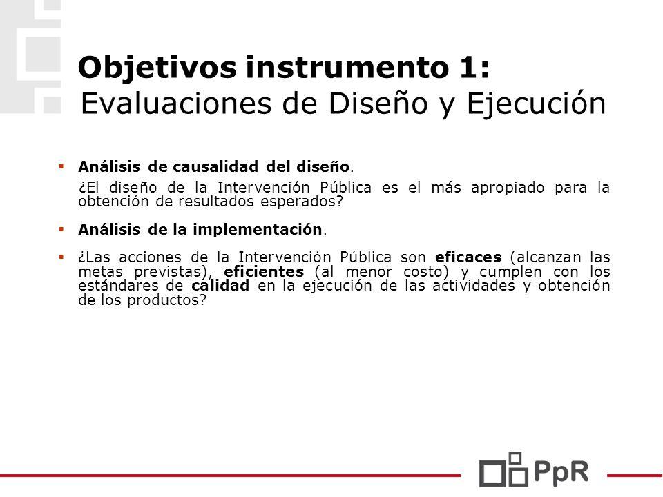Objetivos instrumento 1: Evaluaciones de Diseño y Ejecución Análisis de causalidad del diseño. ¿El diseño de la Intervención Pública es el más apropia