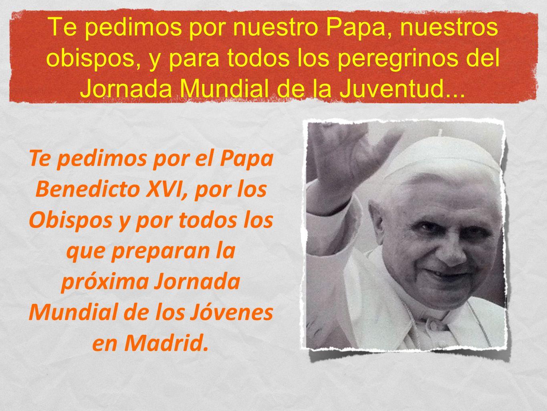 Te pedimos por nuestro Papa, nuestros obispos, y para todos los peregrinos del Jornada Mundial de la Juventud... Te pedimos por el Papa Benedicto XVI,