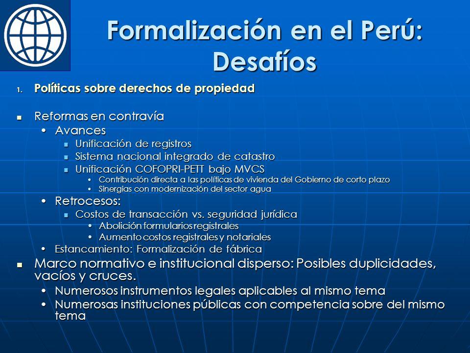 1. Políticas sobre derechos de propiedad Reformas en contravía Reformas en contravía AvancesAvances Unificación de registros Unificación de registros