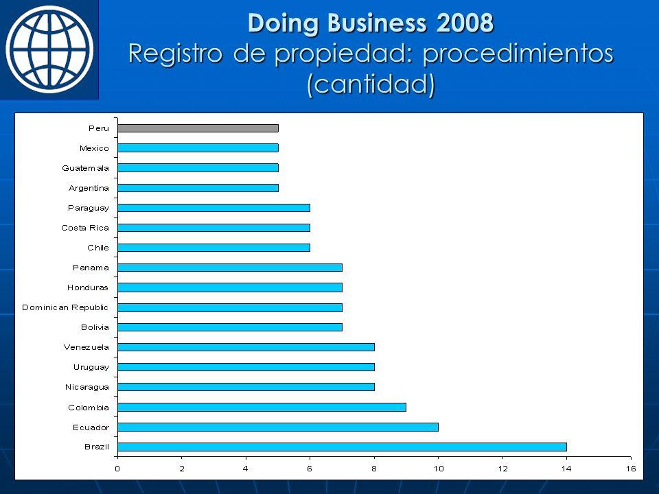 Doing Business 2008 Registro de propiedad: procedimientos (cantidad)