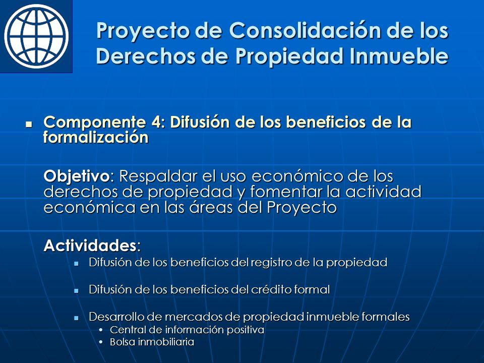 Componente 4: Difusión de los beneficios de la formalización Componente 4: Difusión de los beneficios de la formalización Objetivo : Respaldar el uso económico de los derechos de propiedad y fomentar la actividad económica en las áreas del Proyecto Actividades : Difusión de los beneficios del registro de la propiedad Difusión de los beneficios del registro de la propiedad Difusión de los beneficios del crédito formal Difusión de los beneficios del crédito formal Desarrollo de mercados de propiedad inmueble formales Desarrollo de mercados de propiedad inmueble formales Central de información positivaCentral de información positiva Bolsa inmobiliariaBolsa inmobiliaria Proyecto de Consolidación de los Derechos de Propiedad Inmueble