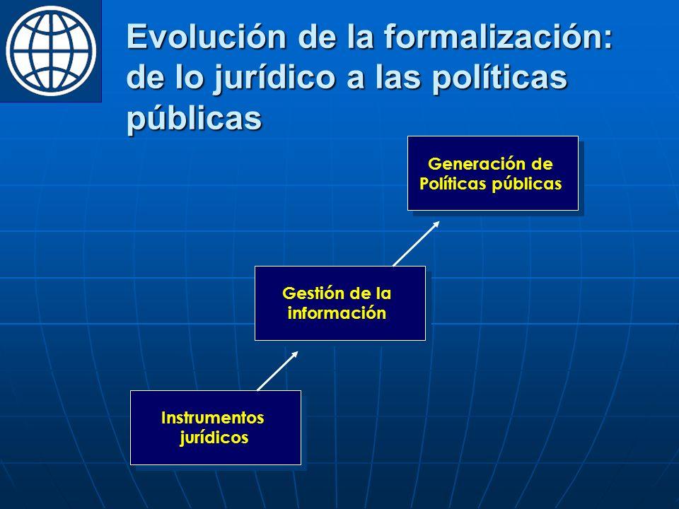 Evolución de la formalización: de lo jurídico a las políticas públicas Instrumentos jurídicos Instrumentos jurídicos Gestión de la información Gestión de la información Generación de Políticas públicas Generación de Políticas públicas