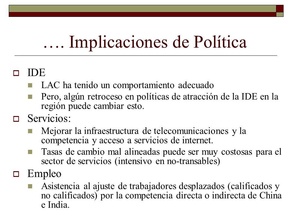 …. Implicaciones de Política IDE LAC ha tenido un comportamiento adecuado Pero, algún retroceso en políticas de atracción de la IDE en la región puede