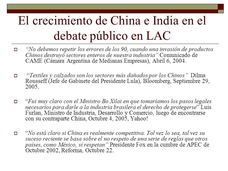 El crecimiento de China e India en el debate público en LAC No debemos repetir los errores de los 90, cuando una invasión de productos Chinos destruyó