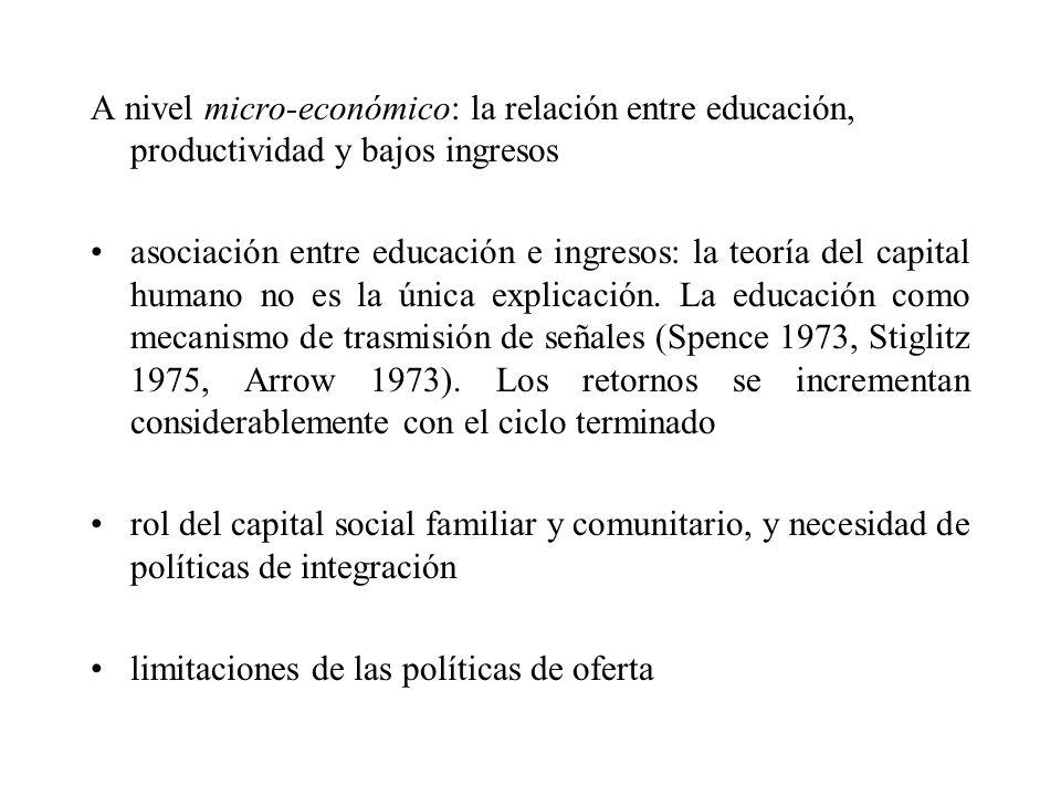 A nivel micro-económico: la relación entre educación, productividad y bajos ingresos asociación entre educación e ingresos: la teoría del capital huma