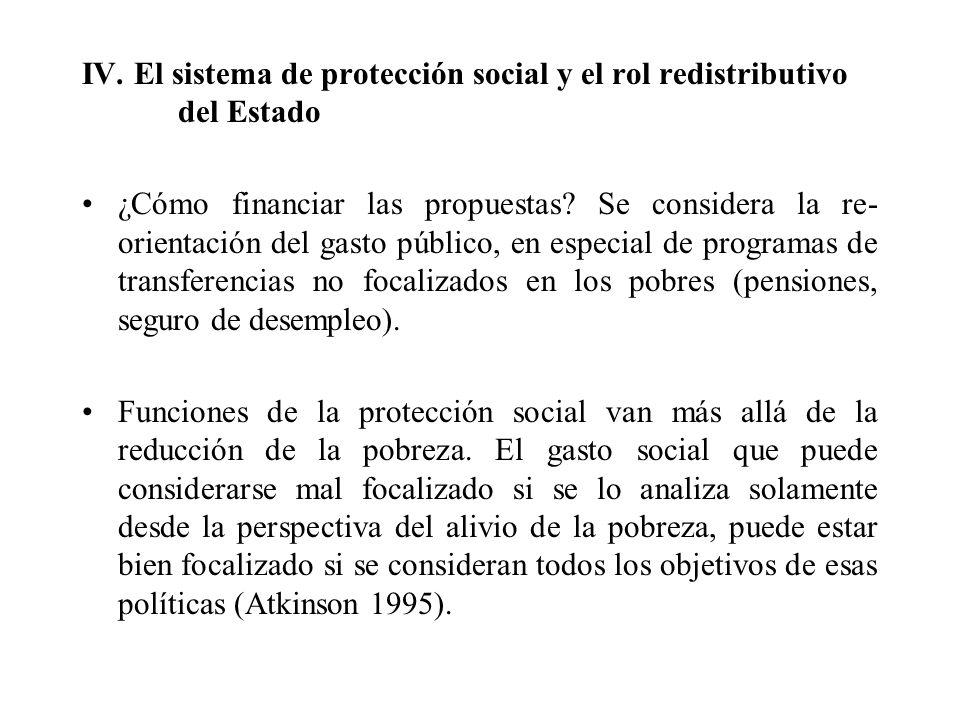 IV. El sistema de protección social y el rol redistributivo del Estado ¿Cómo financiar las propuestas? Se considera la re- orientación del gasto públi
