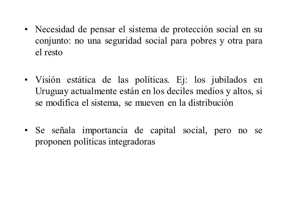 Necesidad de pensar el sistema de protección social en su conjunto: no una seguridad social para pobres y otra para el resto Visión estática de las po