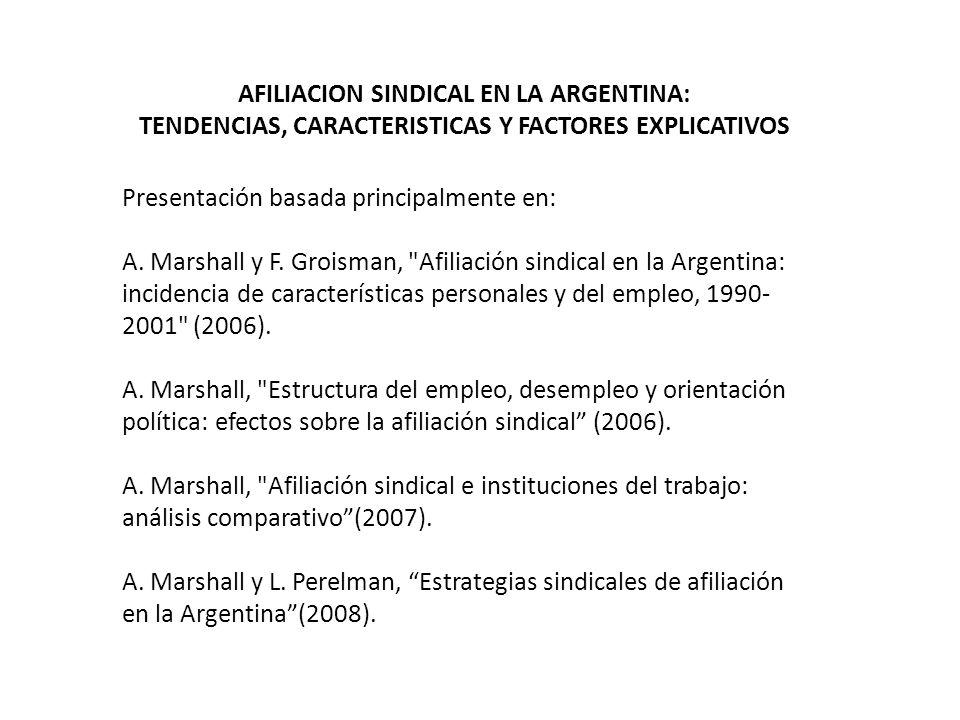 AFILIACION SINDICAL EN LA ARGENTINA: TENDENCIAS, CARACTERISTICAS Y FACTORES EXPLICATIVOS Presentación basada principalmente en: A.
