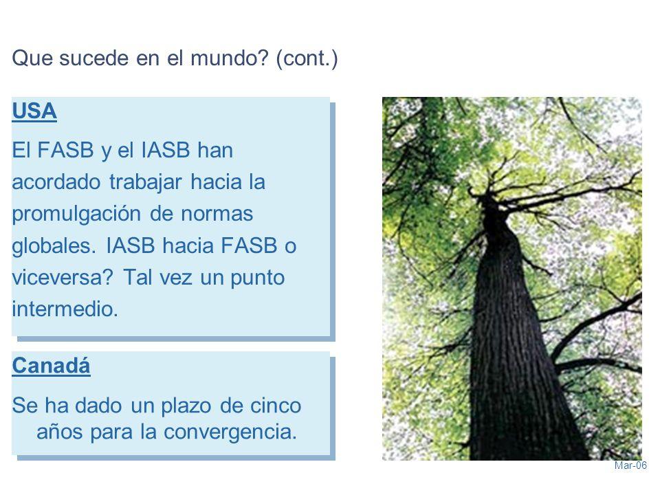 Mar-06 Que sucede en el mundo? (cont.) USA El FASB y el IASB han acordado trabajar hacia la promulgación de normas globales. IASB hacia FASB o vicever