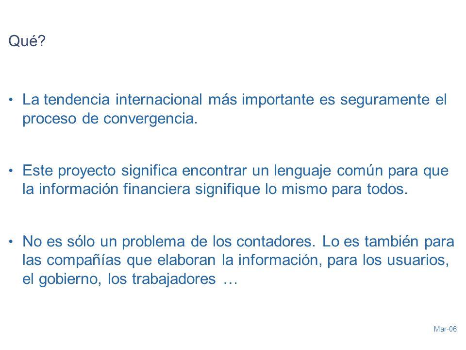 Mar-06 Qué. La tendencia internacional más importante es seguramente el proceso de convergencia.