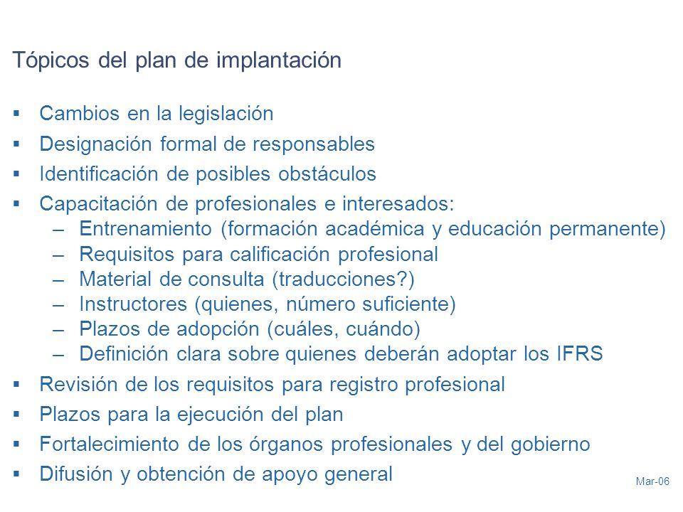 Mar-06 Tópicos del plan de implantación Cambios en la legislación Designación formal de responsables Identificación de posibles obstáculos Capacitació