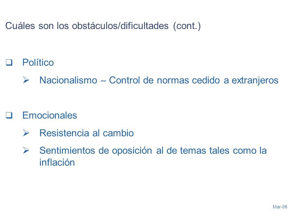 Mar-06 Cuáles son los obstáculos/dificultades (cont.) Político Nacionalismo – Control de normas cedido a extranjeros Emocionales Resistencia al cambio Sentimientos de oposición al de temas tales como la inflación