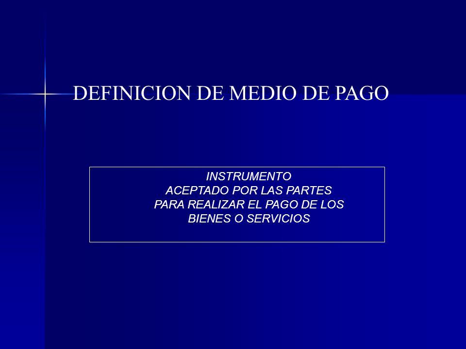 DEFINICION DE MEDIO DE PAGO INSTRUMENTO ACEPTADO POR LAS PARTES PARA REALIZAR EL PAGO DE LOS BIENES O SERVICIOS