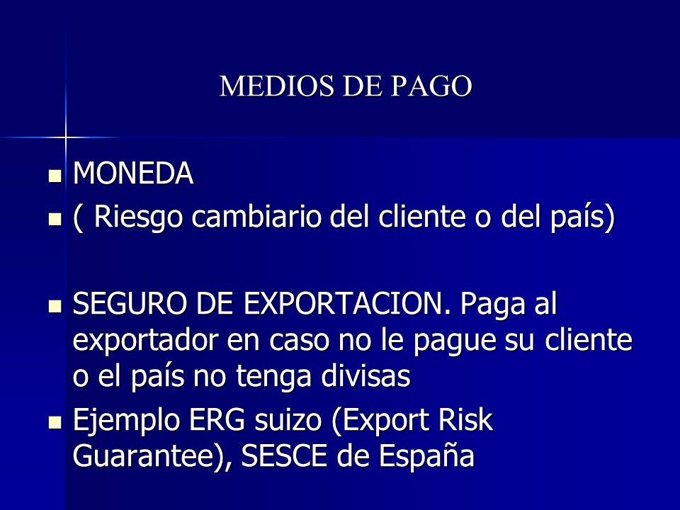 MEDIOS DE PAGO MONEDA MONEDA ( Riesgo cambiario del cliente o del país) ( Riesgo cambiario del cliente o del país) SEGURO DE EXPORTACION. Paga al expo