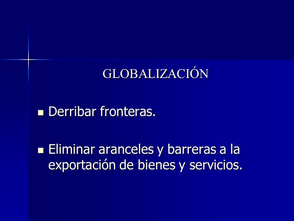 GLOBALIZACIÓN Derribar fronteras. Derribar fronteras. Eliminar aranceles y barreras a la exportación de bienes y servicios. Eliminar aranceles y barre