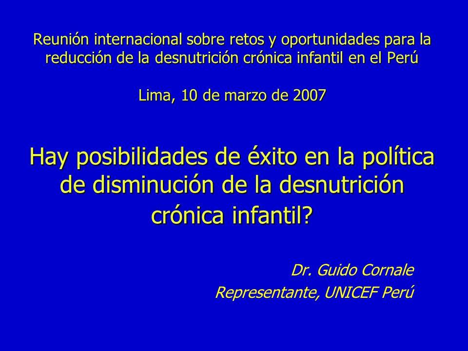 Reunión internacional sobre retos y oportunidades para la reducción de la desnutrición crónica infantil en el Perú Lima, 10 de marzo de 2007 Hay posib
